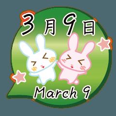 3月9日記念日うさぎ