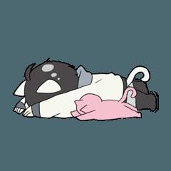 オタク女子とネコのスタンプ