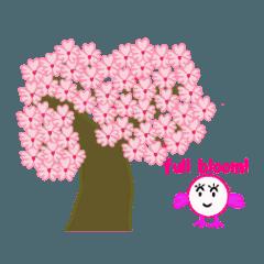 春の桜とお花見スタンプ!(英語)